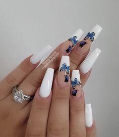 White Tip Acrylic Nails, Bling Acrylic Nails, Acrylic Nails Coffin Short, Cute Acrylic Nail Designs, Summer Acrylic Nails, White Coffin Nails, Spring Nails, Summer Nails, Fire Nails