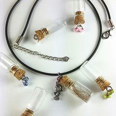 keepsake necklace, message in a bottle necklace, keepsake pendants, keepsake charms, message in a bottle charm, unique necklace, charms by Cthruglass on Etsy