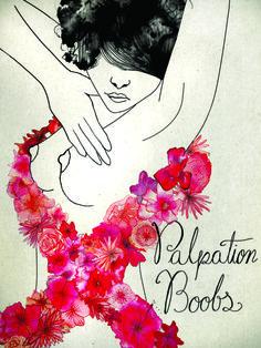 Illustration pour myboobsbuddy et l'octobre rose. Palpation boobs!