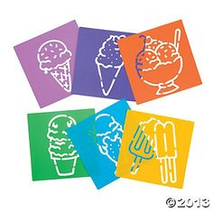 Ice cream stencils from Oriental Trading Co...could use as a dessert stencil with powdered sugar or cocoa powder