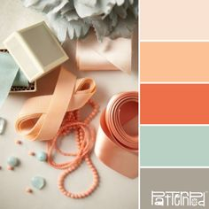 Love this color combo of peach and blue/greenish. #colorpalette
