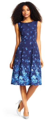 d7f72c8570a4 Adrianna Papell floral fit and flare midi dress with pleated skirt