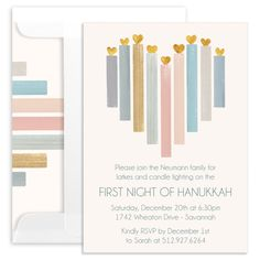 Hanukkah Foil Heart Candles Invitations