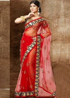 Buy Red Party Wear Saree Online – Fashionic: Indian Ethnic Wear