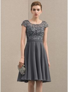 A-Line/Princess Scoop Neck Knee-Length Chiffon Lace Mother of the Bride Dress - Mother of the Bride Dresses - JJ's House Prom Dresses Long Pink, Mob Dresses, Special Dresses, Event Dresses, Wedding Party Dresses, Fall Dresses, Simple Dresses, Beautiful Dresses, Fashion Dresses