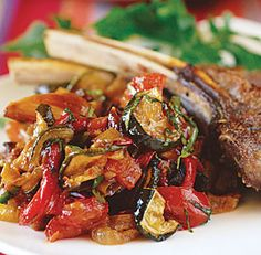 Roasted Ratatouille -- so making with this week's eggplant! Here's a mostly hands-off version of ratatouille that's different in character from my sautéed one but also delicious. It yields a bit less, but by using two sheet pans, you'll have… Vegetable Recipes, Vegetarian Recipes, Cooking Recipes, Healthy Recipes, Lamb Recipes, Vegan Vegetarian, Summer Recipes, Great Recipes, Favorite Recipes