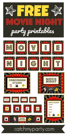 If you love going to the movies and are planning a movie night party, then these. - If you love going to the movies and are planning a movie night party, then these FREE movie night p - Backyard Movie Party, Outdoor Movie Party, Backyard Movie Nights, Outdoor Movie Nights, Movie Theatre Birthday Party, Cinema Party, Movie Night Party, Movie Theme Parties, Kids Movie Party