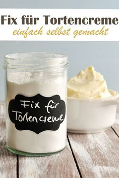 Fix für Tortencreme. Cake cream can be made with this fix powder quite easily Easy Cake Recipes, Sweet Recipes, Tapioca Pudding, Homemade Valentines, Pudding Recipes, Vegan Sweets, Fancy Cakes, Canning Recipes, Baking Ingredients