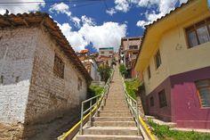 Steep stairs lead to homes in the San Blas neighborhood of Cusco, Peru.
