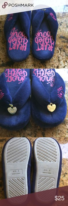 Juicy slippers EUC size 8 Original juicy slippers EUC size 8. They were worn a few times around the house. The shoes are a deep blue with pink details. Juicy Couture Shoes Slippers