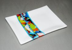 Crisp White Anything Goes Fused Glass Plate w by OmegaArtDesign