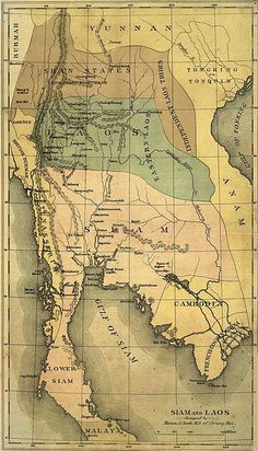 """land-of-maps: """"Map of Siam and Laos as seen by American missionaries published in 1884 """" South Vietnam, Northern Thailand, Luang Prabang, Photo Memories, Modern City, Borderlands, Chiang Mai, 16th Century, The Locals"""