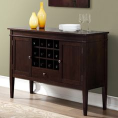 Simpli Home Carlton Sideboard Buffet and Wine Rack & Reviews | Wayfair