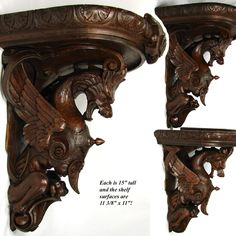 "Magnificent Antique Victorian Carved Oak 15"" Bracket Shelf PAIR,"