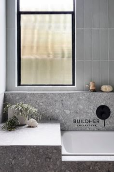 Stirling Terrazzo Look Grey Matt Tile Small Bathroom Interior, Bathroom Windows, Bathroom Renos, Budget Bathroom, Laundry In Bathroom, Modern Bathroom, Classic Bathroom, Bathroom Window Glass, Bathroom Ideas