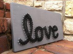Black & Grey love string art by JOCoriginalcreations on Etsy