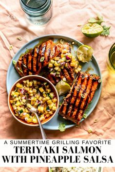 This bright and tropical Teriyaki Salmon with Pineapple Salsa is going to become an instant summertime favorite! It's simple to make and has simple fresh, healthy ingredients it's great for a weeknight dinner for the family. #TeriyakiSalmon #PineappleSalsa #LifeisbutaDish Marinated Salmon, Teriyaki Salmon, Clean Eating Recipes For Dinner, Healthy Dinner Recipes, Healthy Dinners, Yummy Recipes, Healthy Food, Seafood Dishes, Seafood Recipes