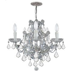 Maria Theresa 6-Light Clear Crystal Chrome Chandelier ($625) ❤ liked on Polyvore featuring home, lighting, ceiling lights, home decor, clear, crystal lamps, chrome lamp, crystal chandelier, chrome crystal chandelier and hanging chain lamps