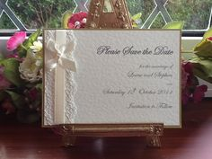 Save the Date Flat Ivory Hammered Card Vintage Lace, Vintage Lace Wedding Cards