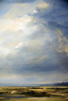 Rainclouds, Walton-on-the-Naze. Oil on Panel. Zarina Stewart-Clark