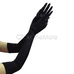 Fanus - 22 Inch Long Satin Elbow Finger Glove Party Bridal Wedding Fancy Prom #EveningGloves