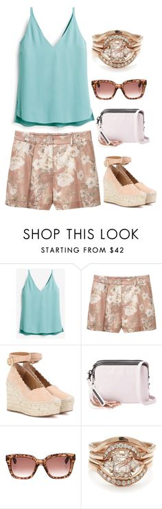 """""""Untitled #4149"""" by kaitoven on Polyvore featuring White House Black Market, MANGO, Chloé, Loeffler Randall, Valentino and BEA"""