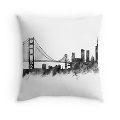 San Francisco Skyline #sanfrancisco #usa #city #skyline #landscape #cityscape #throw #pillows #home #decor #blackandwhite #art #prints