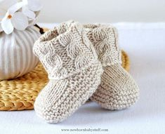 Baby Knitting Patterns (6) Name: 'Knitting : Aran Cable Booties ...