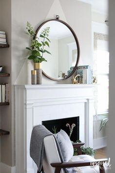 Color Lovers Bedroom Makeover: An eclectic Mid-Century Modern Guest Bedroom Makeover Inspired by Color. Above Fireplace Decor, Home Fireplace, Living Room With Fireplace, Home Living Room, Living Room Designs, Living Room Decor, Mirror Over Fireplace, Modern Fireplace Decor, Fire Place Mantle Decor