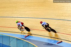 Two cyclists battle it out on the track at the 2012 Paralympic Games, London