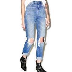 Cheap Monday Donna Destroy Mom Jean ($90) ❤ liked on Polyvore featuring jeans, high-waisted jeans, high rise jeans, high waisted jeans, distressing jeans and blue high waisted jeans
