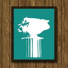 Roman column minimalist print green by WhatAPrintableWorld
