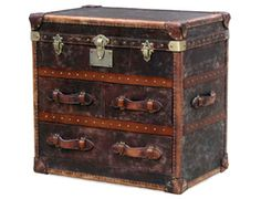 """""""A Vintage Beauty"""" Constructed of a solid wood frame covered with handmade distressed 'vintage cigar' antique leather. This two drawer + trunk is without question the manliest sophisticated dresser available at Vast. Steampunk Bedroom, Steampunk Furniture, Vintage Travel Decor, Vintage Luggage, Punk Decor, British Colonial Decor, Campaign Furniture, Timber Furniture, Trunks And Chests"""