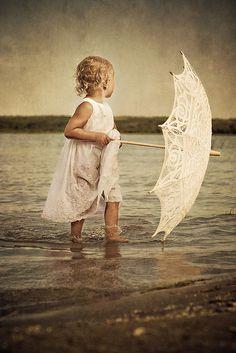 Beach Child with Lace Umbrella
