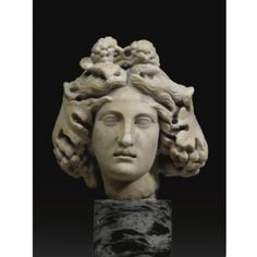 A Marble Head of the Youthful Dionysos, half of the century A. Greek Artifacts, Museum Studies, William Adolphe Bouguereau, Greek And Roman Mythology, Statues, Vases, Bacchus, Dionysus, Ancient Greece