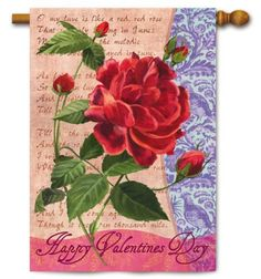 Valentine's Day Rose House Flag by House-Impressions. $19.99. Soft, high-quality nylon fabric. Fade-resistant colors. Hand-crafted. 29 X 43. Flags are the greeting card of your home! Add a piece of colorful and welcoming décor to your outdoor setting with one of these flags. Made of durable materials, the vibrant colors in this flag will last for years to come.. Save 29% Off!