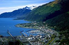 Looking down onto the town of Seward, Alaska and Resurrection Bay...