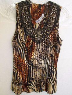 Milano Women's Sleeveless Beaded NecklineTop-Blouse NWT $48.00 Retail-SZ-Medium #Milano #Blouse #Casual