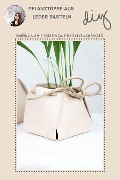 DIY Deko Idee: Leder Pflanztöpfe selber machen - ohne Nähen oder Kleben! Tutorial auf schereleimpapier.de | DIY Wohnen | DIY Ideen mit Pflanzen | Basteln | Interior | Basteln für den Frühling | #diy #diyhomedecor