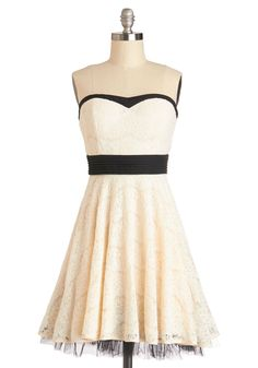 Perfect in Petals Dress in Ivory. Your chic style will be in full bloom when you don this petal-white lace dress. #cream #prom #modcloth