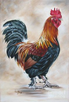 Rooster Art Print featuring the painting Rooster 20 Of 10 by Ilse Kleyn Rooster Painting, Rooster Art, Chicken Painting, Chicken Art, Rooster Images, Rooster Tattoo, Chicken Pictures, Farm Art, Chickens And Roosters