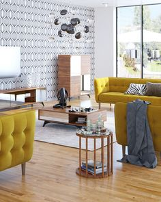 Add a beautiful dash of color to your home with the Avro Sofa Set.