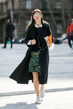 Add trainers to your pencil skirt instead of your pumps.