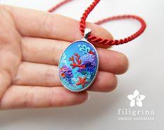 CORAL REEF starfish pendant silver tone bezel polymer di Filigrina
