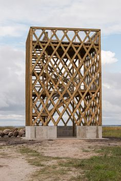 bird watching tower at parnu, estonia Wooden Architecture, Sustainable Architecture, Landscape Architecture, Interior Architecture, Bamboo Structure, Landscape Structure, Timber Structure, Ideas Cabaña, 3d Modelle