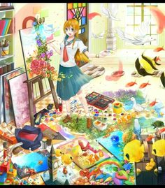 here we have a cute anime girl painting a lot of pretty things. the wonders she is creating are truly 5 stars worthy.