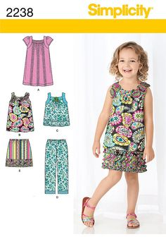 Girls' Dresses, Tops, Skirts and Pants - Simplicity 2238 - New Sewing Pattern, Sz 3, 4, 5, 6, 7, 8