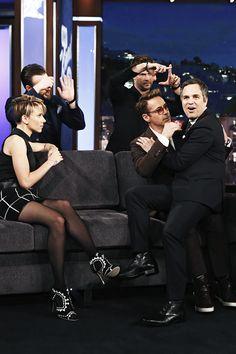 Robert Downey Jr., Chris Hemsworth, Mark Ruffalo, Chris Evans and Scarlett Johansson from Marvel's 'Avengers: Age of Ultron ' visit 'Jimmy Kimmel Live' on April 13, 2015.