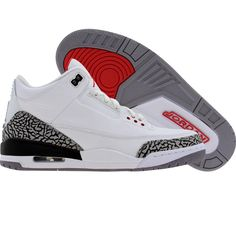 Air Jordan 3 Retro (white / fire red / cement grey / black) 429487-105 - $69.99