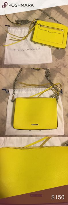 Yellow Crossbody bag Rebecca Minkoff yellow cross body bag. In excellent used condition. Few very light marks on the back (see pic 3). Strap is silver. Comes with dust bag. Length 9inches. Height 6.5 inches. Width 2 inches. Strap 21 inches. Rebecca Minkoff Bags Crossbody Bags